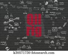 Industry concept: Oil Rig on wall background