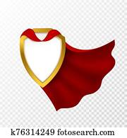 Red cape badge. Hero cloak, mantle carnival super clothes with blank shield. Success and leadership symbol, power vector concept