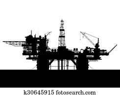 Sea oil rig. Oil platform in the sea. Detailed illustration.