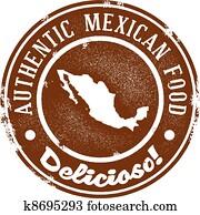 altmodisch, mexikanische nahrung, briefmarke