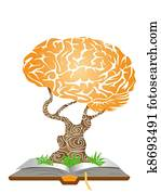 brain tree on book