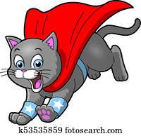 Cat Superhero pet cartoon clipart vector