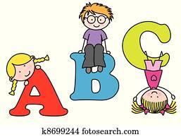 Children playing. alphabet