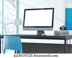 Computer on the table in modern studio