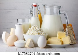 Dairy products, milk, cottage cheese, eggs, yogurt, sour cream and butter on wooden table
