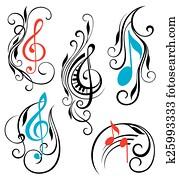 satz, von, musik merkt, vektor