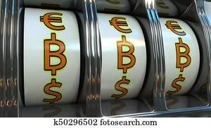Slot machine hitting three bitcoin currency symbols. Mining, luck or investment concepts. 3D rendering