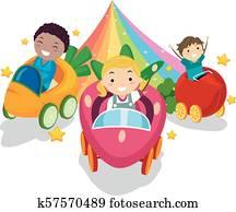Stickman Kids Vegetable Ride Rainbow Illustration