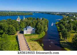 View of the Uglich Kremlin and the Volga River on a summer day.