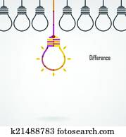 Creative light bulb difference idea concept background