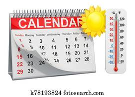 Desk calendar with sun and thermometer, summer season concept. 3D rendering