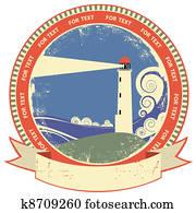leuchtturm, symbol., altmodisch, etikett, auf, alt, papier, struktur