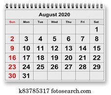 Monthly calendar - page of August 2020