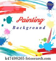 Scenic from brush strokes background
