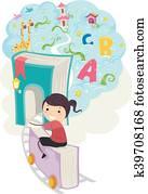 Stickman Kid Girl Book Train Fantasy