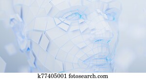 Abstract 3D Render of Polygonal Human Face