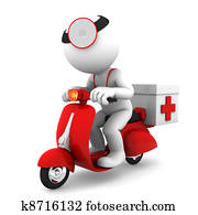 Medic on scooter. Emergency medical service concept