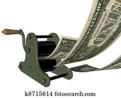 Printing money on hand press