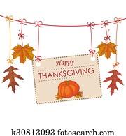 Autumn Thanksgiving Banner Foliage Line Pumpkin