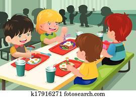 elementar, studenten, essen mittagessens, in, kantine