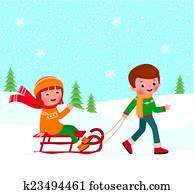 kindern, winterbilder, schlitteln