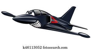 Military Jet Cartoon Illustration