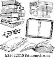 Set of books sketch