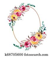 Watercolor Floral Frame, Flower Wreath. Foliage backdrop for wedding invitation, greeting card.