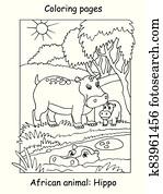 Coloring hippo vector