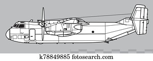 Grumman C-2 Greyhound. Outline vector drawing
