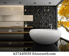 Interior of stylish bathroom 3D rendering