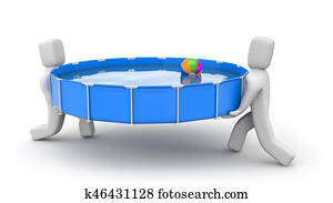 People install swimming pool. Get ready for summer. 3d illustration