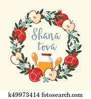 Shana Tova greeting card, invitation for Jewish New Year Rosh Hashanah. Floral wreath made of pomegranate and apple fruit, leaves, flowers and honey. Vector illustration background, flat design.