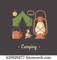 wandern, und, camping, altmodisch, hüfthose, plakat