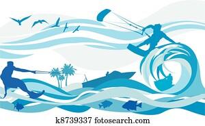 wasser sport, -, papier drache, surfing,, wasser
