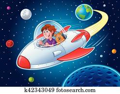 Boy with Dog In Spaceship