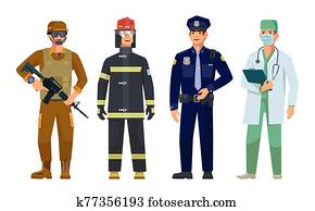 doctor,, policeman,, fireman,, k?nigliche garde, m?nner