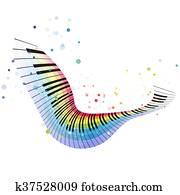 fliegen, regenbogen, klavier