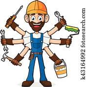 heimwerker, halten, werkzeuge