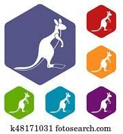 Kangaroo icons set hexagon
