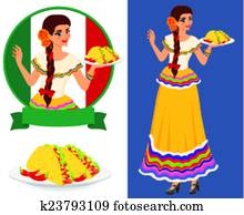Mexican girl with taco