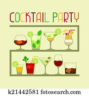 Party invitation with alcohol drinks and cocktails.