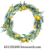 Raster watercolor christmas wreath