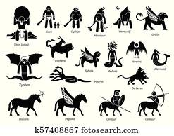 uralt, griechische mythologie, monster, und, kreaturen, charaktere, symbol, satz