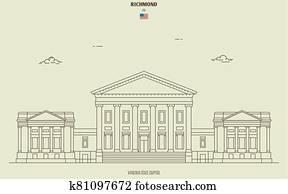 Virginia State Capitol in Richmond, USA. Landmark icon