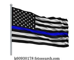 Blue Lives Matter Flag on Flagpole, Isolated On White