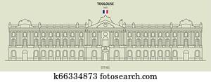 City Hall in Toulouse, France. Landmark icon