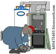 HVAC man installing a furnace motor