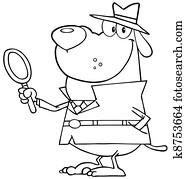 Outlined Detective Dog