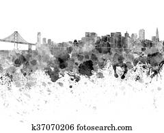 San Francisco skyline in watercolor on white background
